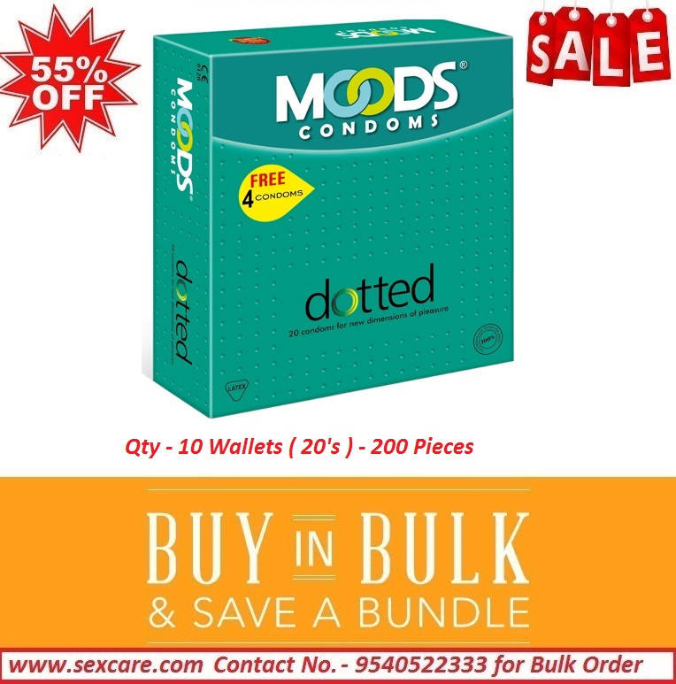 Moods Dotted Condoms 20'S ( Pack of 10 Boxes )