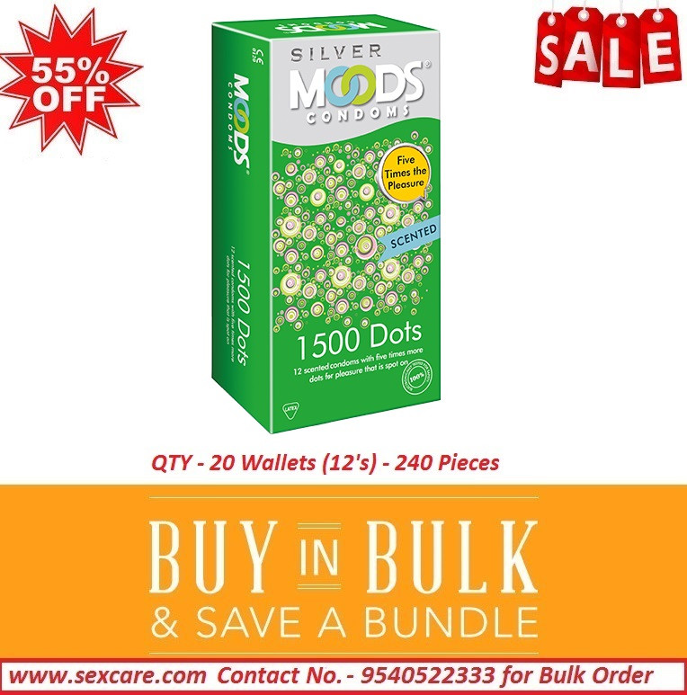 Moods Silver 1500 Dots Condoms 12'S ( Pack Of 20 Boxes )