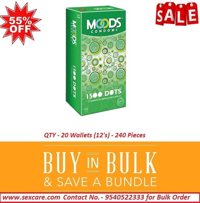 Moods 1500 DOTS Condoms 12 'S ( Pack of 20 Boxes )