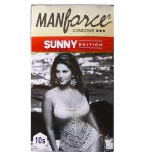 Manforce Ribbed Dotted Shaped 3in1 Condoms - Sunny Edition 10's