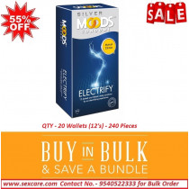 Moods Silver Electrify 12's Condoms ( Pack of 20 Boxes)