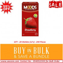 Moods Strawberry Flavored Dotted Condoms 12'S ( Pack of 20 Boxes )