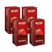 Moods strawberry 48 Pcs Condoms ( Pack of 4 )