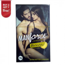 Manforce Extra Dotted Banana Flavored Condoms 10 Pc ( Pack Of 2 ) Get 1 free