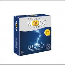 Moods Silver Electrify Dotted, Ribbed and Delay Condoms 3's
