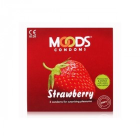 Moods Strawberry Flavored Dotted Condoms 3's