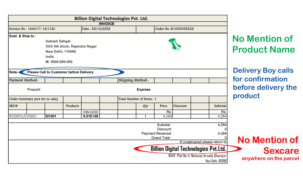 Discreet Invoice format